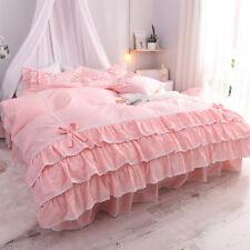 4-Piece Ballet Ruffle Lace Duvet Cover Bedding Set Twin Queen King 100% Cotton