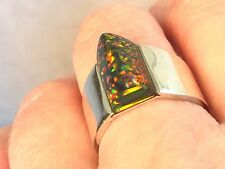 8.5 Bold Black Golden RED Fire Opal Sterling Silver Ring 925 Ladies Pyramid