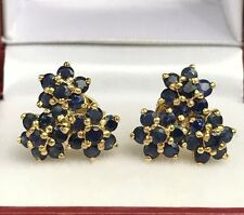 14k Solid Yellow Gold Three Flowers Stud Earrings,Natural Sapphire 3.5TCW