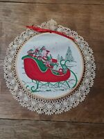 Vintage Christmas Decoration Fabric in Wooden Hoop Crochet Lace Sleigh Toys 11""
