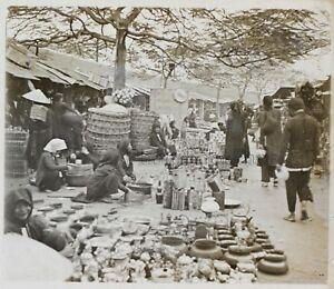 Marché Asie Siam Indo Chine Vietnam Photo K4 Plaque de verre Stereo Vintage