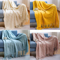 Knitted Blanket Throw Couch Bed Sofa Chair Cover Bedroom Home Decor Soft Tassel