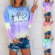 Women Casual Tie-dye Print T Shirt Crew Neck Long Sleeve Blouse Loose Tunic Tops