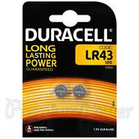 2 x Duracell Alkaline LR43 batteries 1.5V 186 V12GA AG12 1176A Coin Cell 2 Pack