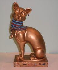 "Ceramic Egyptian Cat Figurine Statue gold painted w hieroglyphs scarab 10"" Egypt"