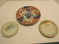 Antique Chinese plate, Japanese hand painted saucer and small plate