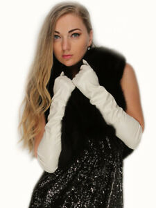 women spring new elbow long real sheep leather evening long gloves