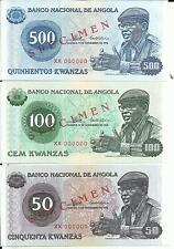 ANGOLA SPECIMEN SET 50-100-500 KWANZAS 1976. UNC CONDITION. 4RW 19DES