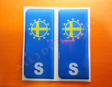 2x3D Sticker Resin Domed Euro SWEDEN Number Plate with Flag Car Badge Adhesive