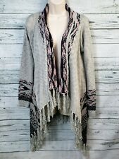 NWT Filly Flair Gray Cardigan Sweater Fringe Trim Women's Size Medium