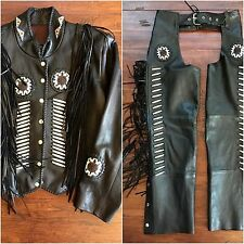 Southwestern Native American Fringe Beaded Leather Jacket & Chaps Set