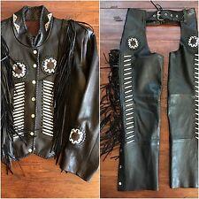 Southwestern Native American Fringe Beaded Leather Jacket & Chaps Set