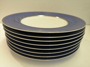 "Bernardaud Limoges service charger plates, chop plates 12"", BLUE, Set of 8"