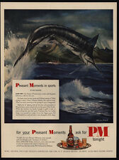 1951 MELBOURNE BRINDLE Giant Tahitian Marlin Fish Art - PM Whiskey - VINTAGE AD