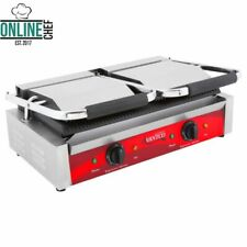 P85S Double Smooth Top & Bottom Commercial Panini Sandwich Grill Press Electric
