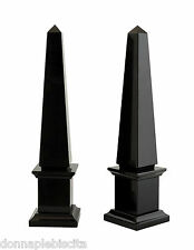 Obelisco in Marmo Nero Black Marble Obelisk Classic Home Art & Old Design H25cm