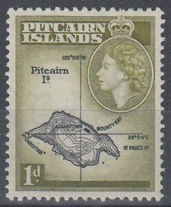 PITCAIRN ISLAND 1954 QEII 1d. BLACK & YELLOW-OLIVE MINT (ID:235/D59923)