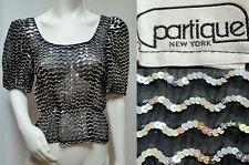 Vintage Partique New York Black & Silver Sequins Peplum Top - M/L - Gorgeous!