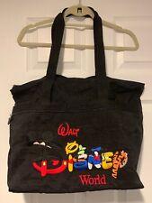 Walt Disney World Embroidered Zip Up Nylon Tote Bag Black 3 Compartment 14x18