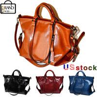 Women Soft Oiled Leather Handbag Crossbody Messenger Shoulder Bag Satchel Tote