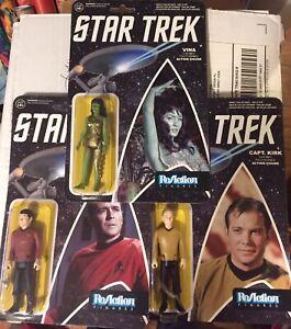 Funko Super 7 ReAction Figures Star Trek VINA, SCOTTY, KIRK Mint on Sealed Cards