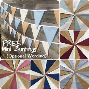 Fabric hessian Bunting Wedding Vintage Rustic Shabby Chic 3-12m+Free Mini bunts