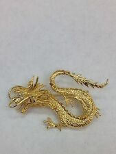 Vintage 18k Yellow Gold Dragon Brooch With .06tdw Round Diamonds