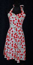 Rockabilly Retro cherry halter neck waisted full skirt sweetheart ruched back sM