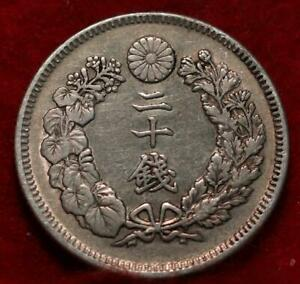 1907 Japan 20 Sen Silver Foreign Coin