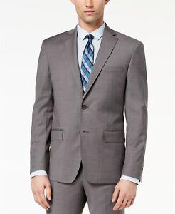 DKNY Modern-Fit Stretch Neat Grey Suit Jacket Mens 44L 44 $425