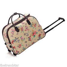 Ladies Travel Bags Holdall Hand Luggage Women's Weekend Handbag Wheeled Trolley Beige Butterfly S3