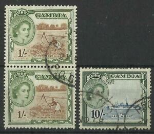 GAMBIA QE11 1953-59 1s,10s USED