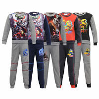 Boys Pyjama Set Tracksuit MARVEL STAR WARS MINIONS Kids Top Bottom Fleece Winter
