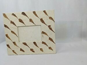 """VTG BOUTIQUE HANDMADE 3 1/2"""" X 5"""" NATURE PICTURE FRAME PAPER OVERLAY REAL LEAVES"""