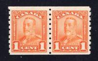 Canada 1929 Sc #160 1c orange KGV Scroll Issue Coil Pair VF NH