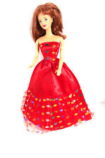 Barbie Doll Clothes Red Ball Evening Gown Sparkle Bodice Dress Velcro Closure