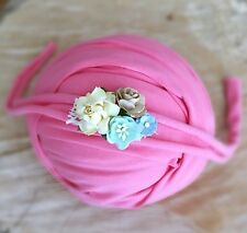 Rose Pink Soft Cotton Jersey Stretchy Wrap Headband Set Baby Newborn Photo Prop