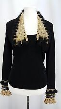 Belldini Tank Top and Bolero/Shrug Sweater Set Size S Crochet ribbon sequins