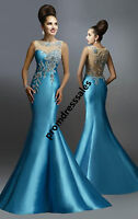 Beaded Satin Mermaid Long Pageant Evening Dress Sexy Celebrity Party Prom Gown