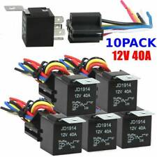 10PCS 12V SPDT Car Automotive Relay 5-Pin 5 Wires+Harness Socket Set 30/40Amp BA