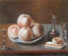 CAROLINE PASTEL NATURE MORTE 1789 XVIIEME 18EME SIECLE BISCUITS FRUITS VIN VERRE