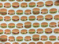 1 Yard Of Cheeseburger, Hamburger 100% Cotton Fabric. Tomatoes, Onions, Lettuce