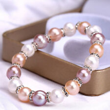 Fashion Women's 8-9mm Natural Mix Color Freshwater Pearl Bracelet Bangle Y3352