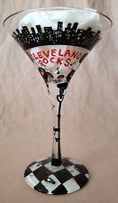 "Cleveland Rocks ""Cleveland-tini"" Lolita Recipe Martini Glass Black/White Skyline"