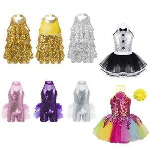 Kids Girls Shiny Ballet Tutu Dress Jazz Latin Dance Outfit Performance Dancewear