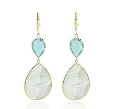 14K Yellow Gold Gemstone Earrings With Mother Of Pearl And Blue Topaz