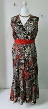 Roman Originals size 22 brown floral crinkle maxi dress sleeveless NWT plus size