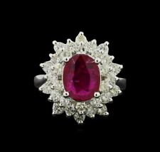 14K WHITE GOLD COCKTAIL RING w/ 2.17ct RUBY &DIAMONDS1.42ct Appraised at $7275