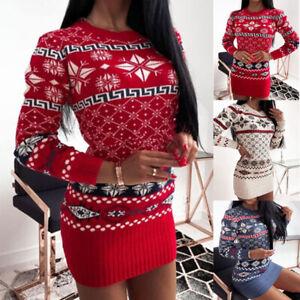 Christmas Womens Mini Jumper Dress Ladies Long Sleeve Bodycon Party Dresses UK