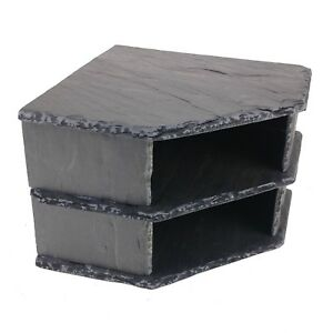 Double Corner SLATE Cave Stone Rock for Pleco AQUARIUM Fish Tank Vivarium